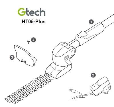 GTech HT05 Plus Hedge Trimmer Box Contents
