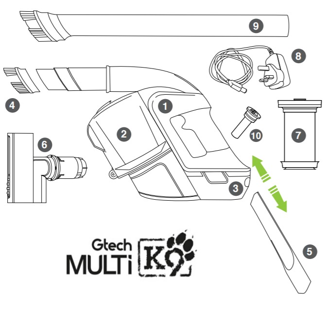 GTech Multi K9 Accessories In the Box