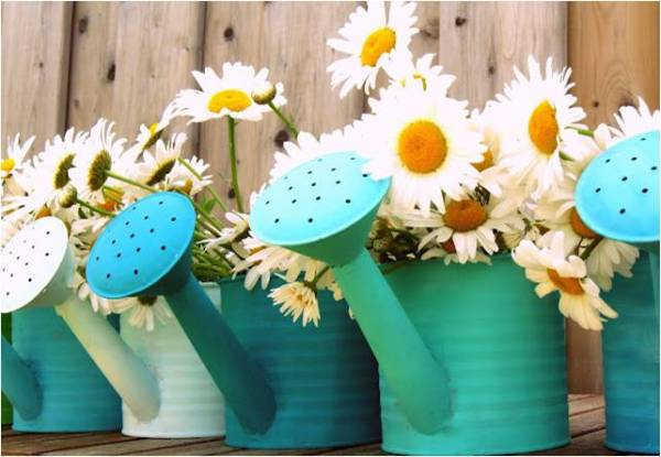 Flowers in Watering Cans