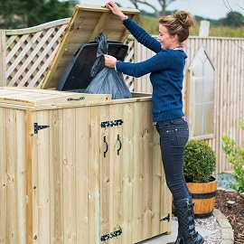 Double sized wood Bin Store