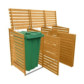 Treble door Wood Bin Store