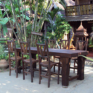 Reclaimed Teak Big Bar Set 8 Chairs