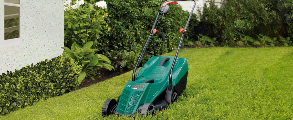 Bosch Rotak 32R Lawn Mower on Grass
