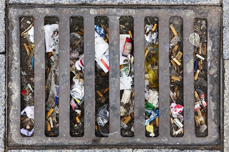 Drain blocked with rubbish
