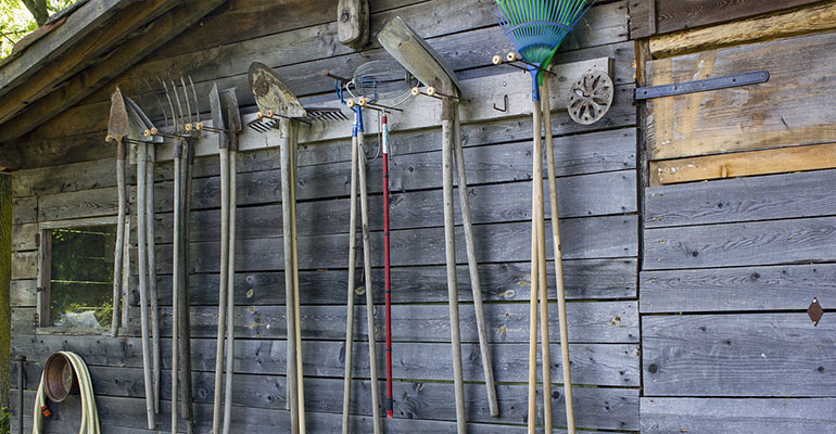 hooks organized garden shed