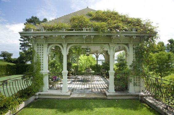 Green Gazebo with Plants