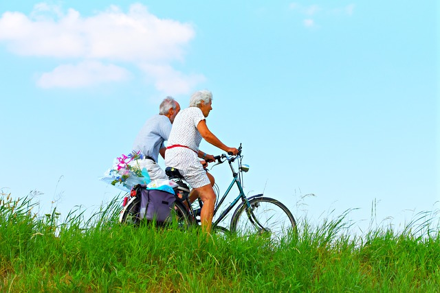 Elderly People Riding Bikes