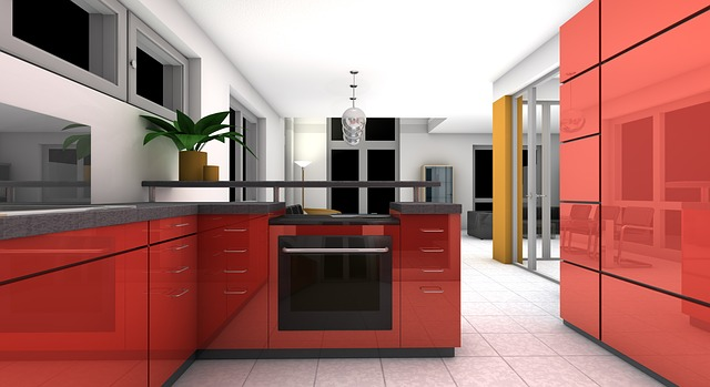Stylish Red Kitchen Apartment