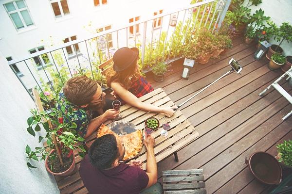 Friends on patio area