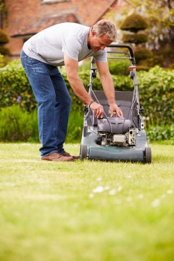 Man Checking Mower
