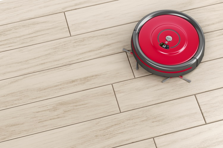 Red Robot Vacuum Cleaning