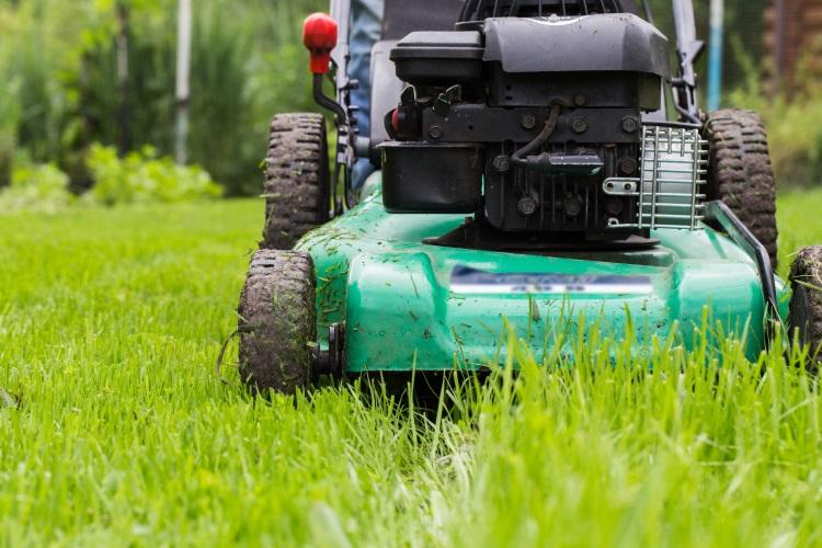 Wet grass stuck on mower wheels