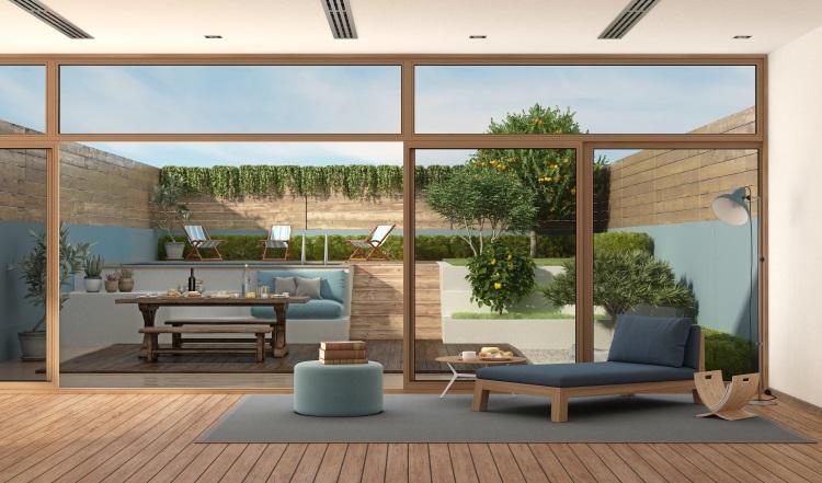 Modern living room set in garden