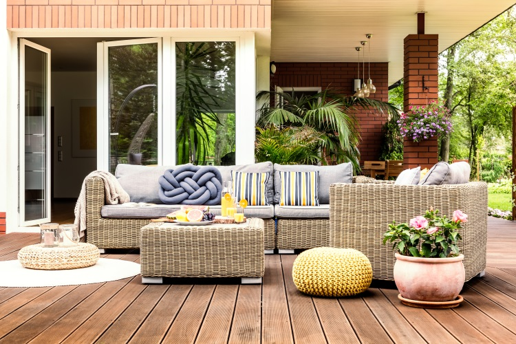 Wooden decking for family sitting area