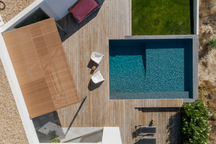 Wooden decking around swimming pool