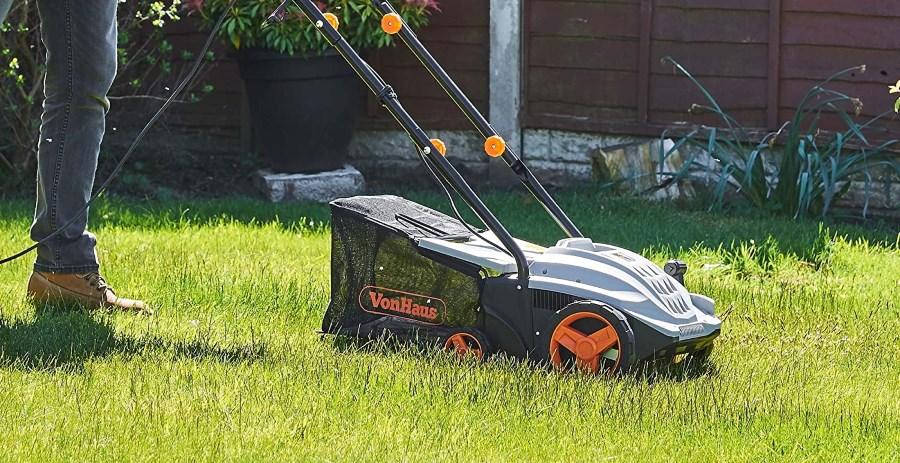 Man using VonHaus lawn rake