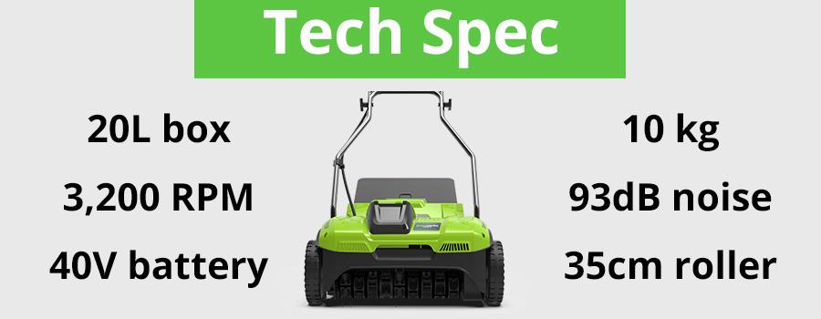 Greenworks Dethatcher UK Tech Spec