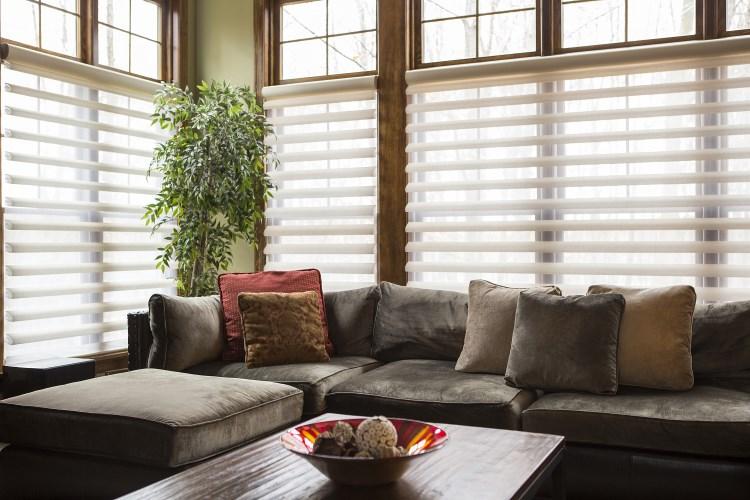 Dark coloured blinds for living room