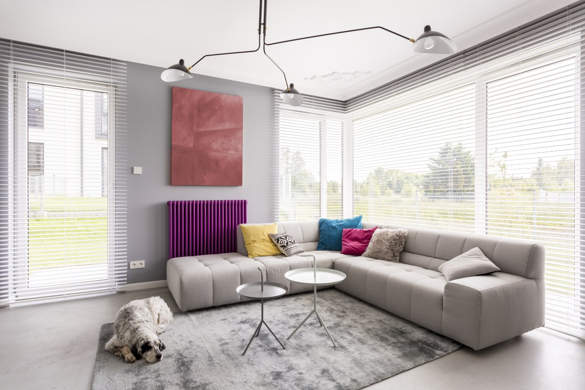 Light blinds in beautiful living room