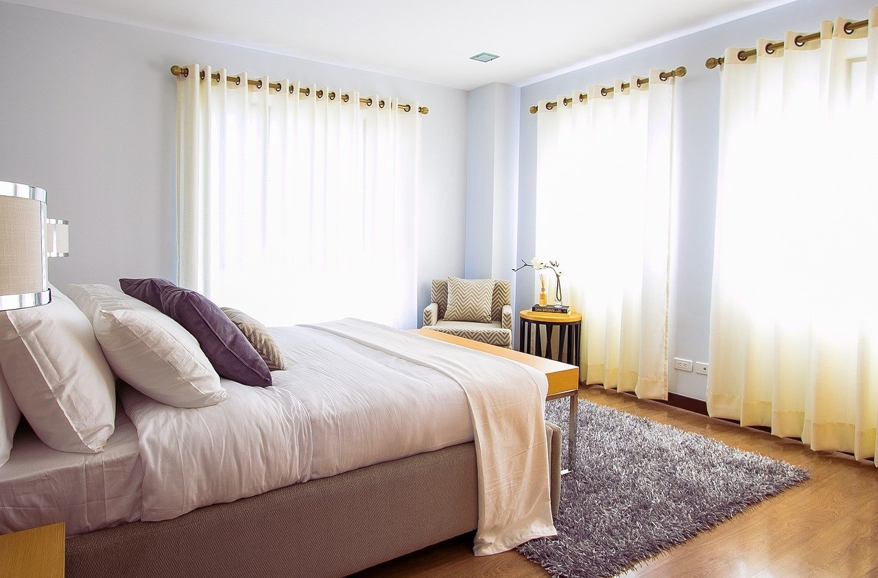 Bedroom with Curtains that Need Washing