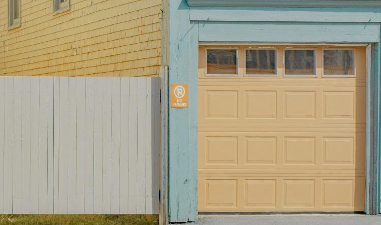 Brightly coloured garage door