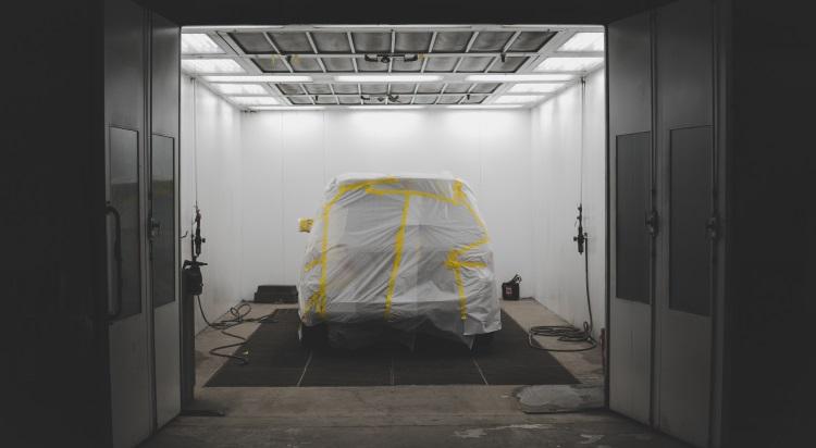 Overhead lights in garage workshop