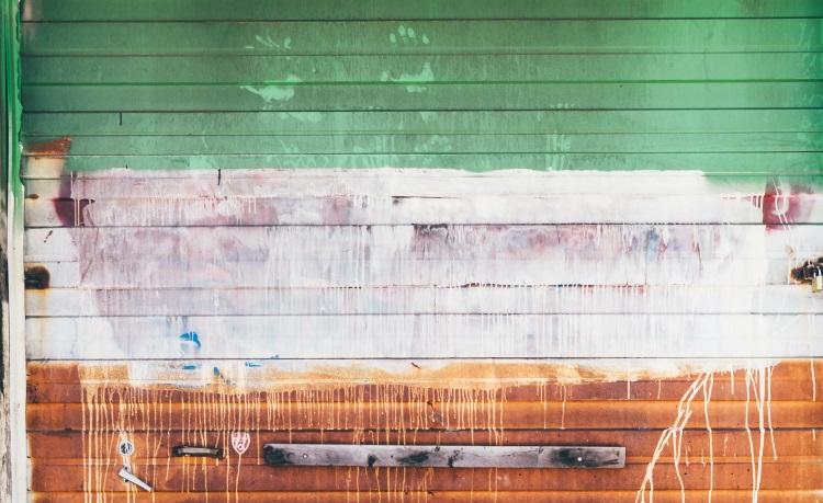 Badly painted garage door